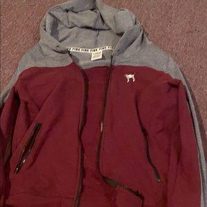 Maroon and grey zip up hoodie